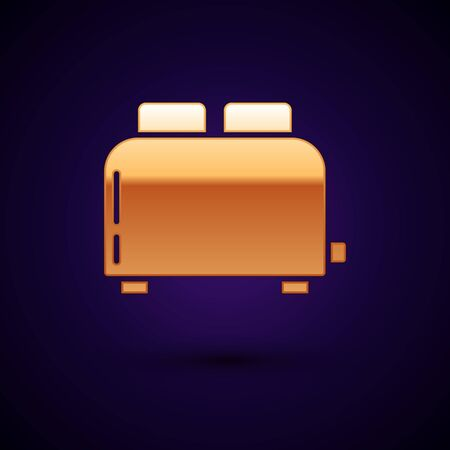 Gold Toaster with toasts icon isolated on dark blue background. Vector Illustration