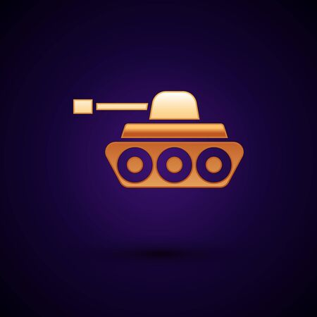 Gold Military tank icon isolated on dark blue background. Vector Illustration