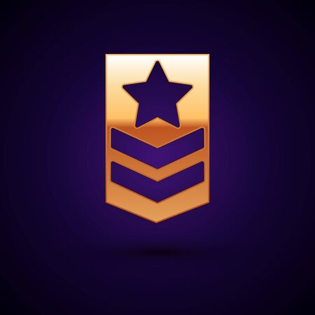 Gold Chevron icon isolated on dark blue background. Military badge sign. Vector Illustration