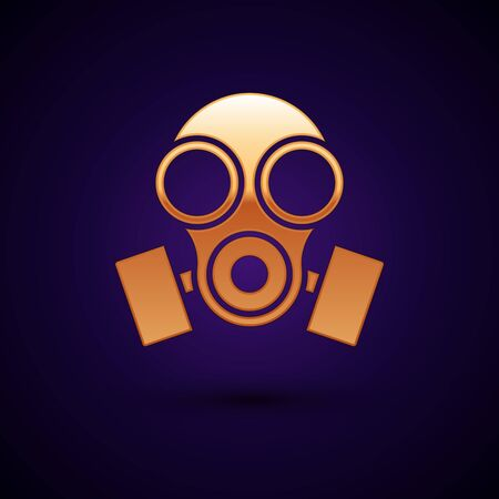 Gold Gas mask icon isolated on dark blue background. Respirator sign. Vector Illustration