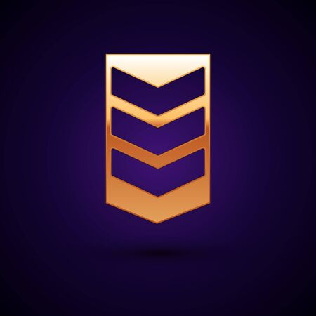 Gold Military rank icon isolated on dark blue background. Military badge sign. Vector Illustration Illusztráció