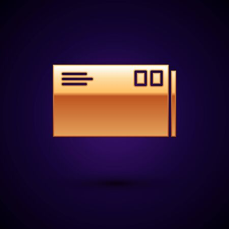 Gold Envelope icon isolated on dark blue background. Email message letter symbol. Vector Illustration Иллюстрация