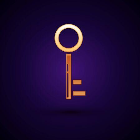 Gold Key icon isolated on dark blue background. Vector Illustration Stok Fotoğraf - 133094230