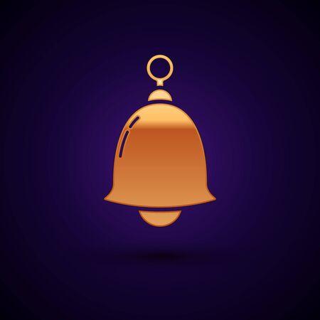 Gold Ringing bell icon isolated on dark blue background. Alarm symbol, service bell, handbell sign, notification symbol. Vector Illustration