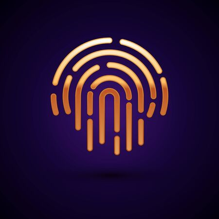 Gold Fingerprint icon isolated on dark blue background. ID app icon. Identification sign. Touch id. Vector Illustration