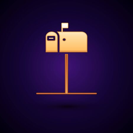Gold Open mail box icon isolated on dark blue background. Mailbox icon. Mail postbox on pole with flag. Vector Illustration