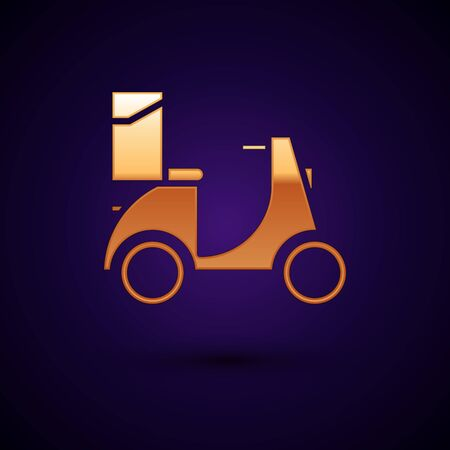 Gold Scooter delivery icon isolated on dark blue background. Delivery service concept. Vector Illustration