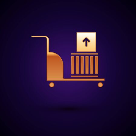 Gold Electric hand truck and boxes icon isolated on dark blue background. Dolly symbol. Vector Illustration