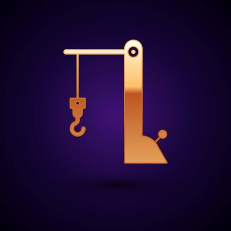 Gold Harbor port crane icon isolated on dark blue background. Cargo crane tower. Vector Illustration