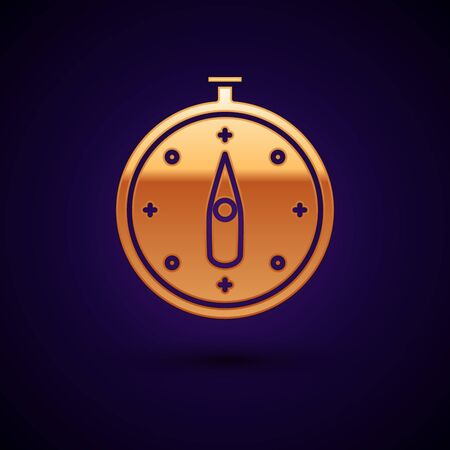 Gold Compass icon isolated on dark blue background. Windrose navigation symbol. Wind rose sign. Vector Illustration Stock Illustratie
