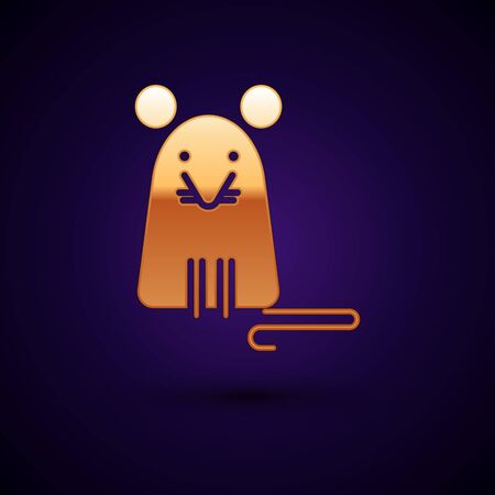 Gold Rat icon isolated on dark blue background. Mouse sign. Vector Illustration