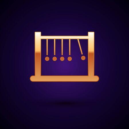 Icône de pendule or isolé sur fond bleu foncé. Berceau de Newton. Illustration vectorielle