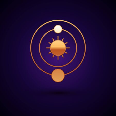 Gold Solar system icon isolated on dark blue background. The planets revolve around the star. Vector Illustration