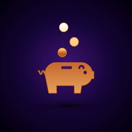 Gold Piggy bank with icon isolated on dark blue background. Icon saving or accumulation of money, investment. Vector Illustration Stock Illustratie