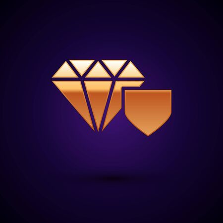 Gold Diamond with shield icon isolated on dark blue background. Jewelry insurance concept. Security, safety, protection, protect concept. Vector Illustration