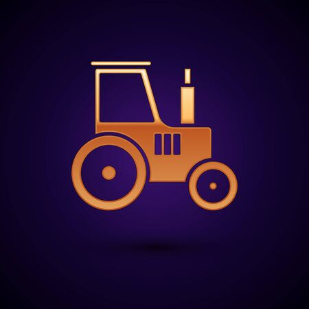 Gold Tractor icon isolated on dark blue background. Vector Illustration Ilustracja