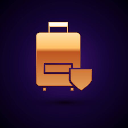Gold Travel suitcase icon isolated on dark blue background. Traveling baggage insurance. Security, safety, protection, protect concept. Vector Illustration