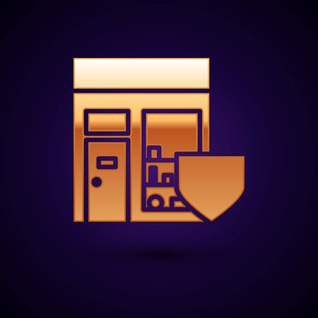 Gold Shopping building with shield icon isolated on dark blue background. Insurance concept. Security, safety, protection, protect concept. Vector Illustration