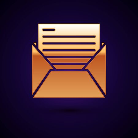 Gold Mail and e-mail icon isolated on dark blue background. Envelope symbol e-mail. Email message sign. Vector Illustration
