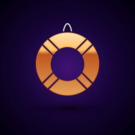Gold Lifebuoy icon isolated on dark blue background. Lifebelt symbol. Vector Illustration