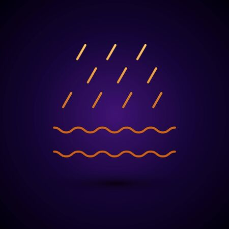 Gold Rain and waves icon isolated on dark blue background. Rain cloud precipitation with rain drops. Vector Illustration