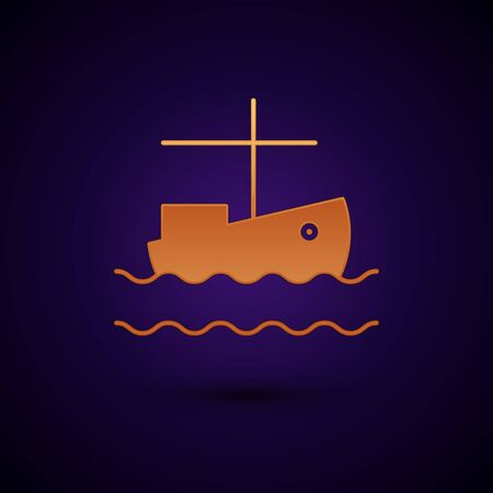 Gold Fishing boat on water icon isolated on dark blue background. Vector Illustration