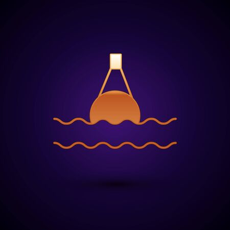 Gold Floating buoy on the sea icon isolated on dark blue background. Vector Illustration Иллюстрация