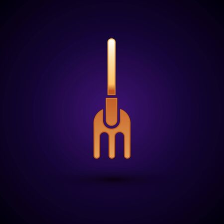 Gold Garden rake icon isolated on dark blue background. Tool for horticulture, agriculture, farming. Ground cultivator. Housekeeping equipment. Vector Illustration