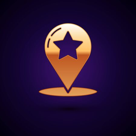 Gold Map pointer with star icon isolated on dark blue background. Star favorite pin map icon. Map markers. Vector Illustration