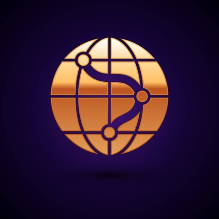 Gold Location on the globe icon isolated on dark blue background. World or Earth sign. Vector Illustration