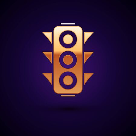 Gold Traffic light icon isolated on dark blue background. Vector Illustration Banque d'images - 133104379
