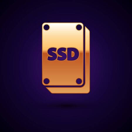 Gold SSD card icon isolated on dark blue background. Solid state drive sign. Storage disk symbol. Vector Illustration