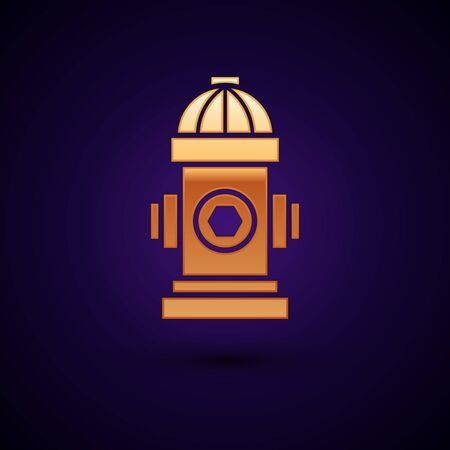 Gold Fire hydrant icon isolated on dark blue background. Vector Illustration