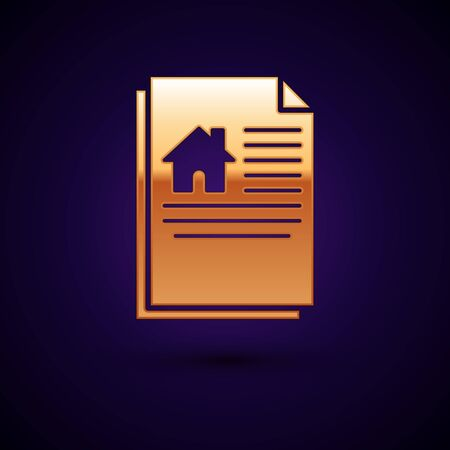 Gold House contract icon isolated on dark blue background. Contract creation service, document formation, application form composition. Vector Illustration