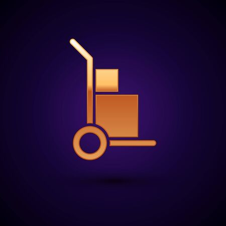Gold Hand truck and boxes icon isolated on dark blue background. Dolly symbol. Vector Illustration