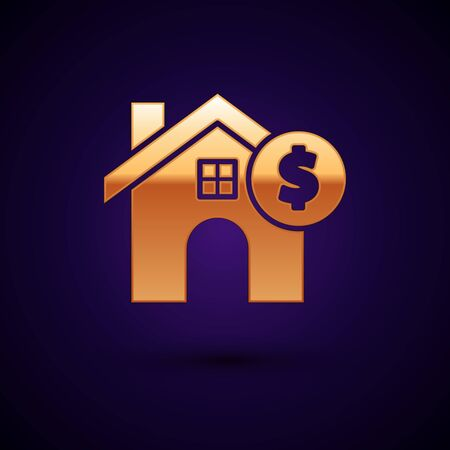 Gold House with dollar symbol icon isolated on dark blue background. Home and money. Real estate concept. Vector Illustration Ilustracja