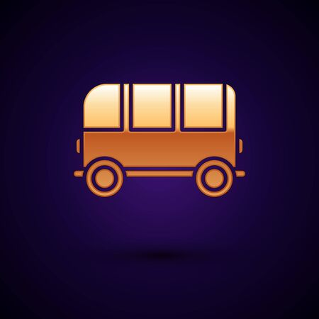 Gold School Bus icon isolated on dark blue background. Vector Illustration