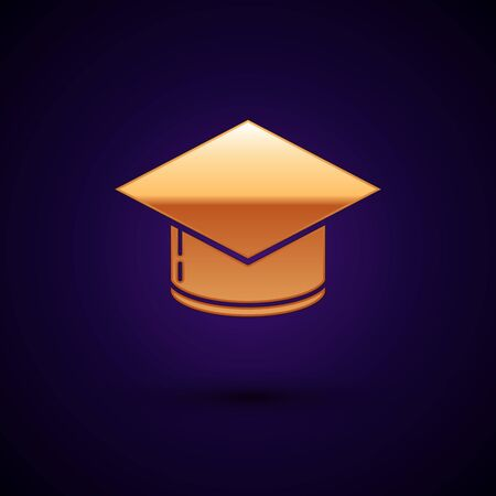 Gold Graduation cap icon isolated on dark blue background. Graduation hat with tassel icon. Vector Illustration Banque d'images - 133095607
