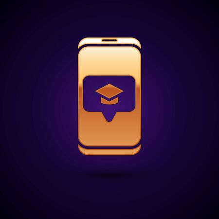Gold Graduation cap on screen smartphone icon isolated on dark blue background. Online learning or e-learning concept. Vector Illustration