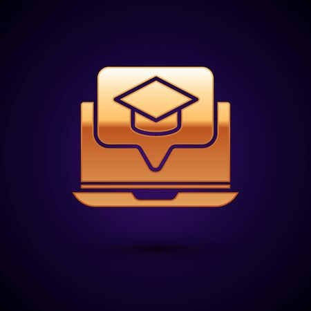 Gold Graduation cap on screen laptop icon isolated on dark blue background. Online learning or e-learning concept. Vector Illustration