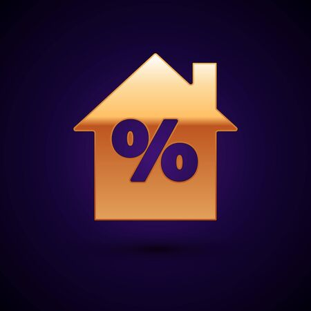Gold House with percant discount tag icon isolated on dark blue background. House percentage sign price. Real estate home. Vector Illustration Ilustracja