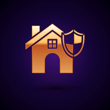 Gold House with shield icon isolated on dark blue background. Insurance concept. Security, safety, protection, protect concept. Vector Illustration
