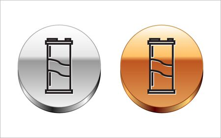 Black line Soda can icon isolated on white background. Silver-gold circle button. Vector Illustration Ilustração