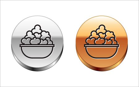 Black line Popcorn in bowl icon isolated on white background. Popcorn bucket box. Silver-gold circle button. Vector Illustration