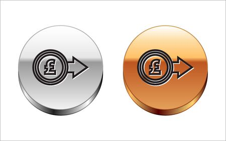 Black line Coin money with pound sterling symbol icon isolated on white background. Banking currency sign. Cash symbol. Silver-gold circle button. Vector Illustration