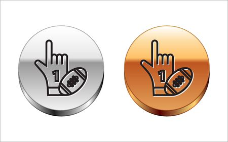 Black line Number 1 one fan hand glove with finger raised and american football ball icon isolated on white background. Set of sport equipment. Silver-gold circle button. Vector Illustration