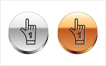 Black line Number 1 one fan hand glove with finger raised icon isolated on white background. Symbol of team support in competitions. Silver-gold circle button. Vector Illustration