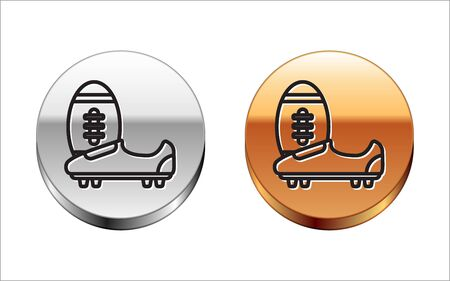 Black line Soccer or football shoes with spikes icon isolated on white background. American football boot and ball. Silver-gold circle button. Vector Illustration Stok Fotoğraf - 133116447