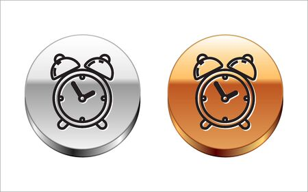 Black line Alarm clock icon isolated on white background. Wake up, get up concept. Time sign. Silver-gold circle button. Vector Illustration