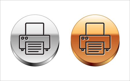 Black line Printer icon isolated on white background. Silver-gold circle button. Vector Illustration